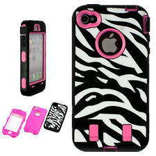 iPhone 4 4S Case Hybrid Heavy Duty Dual Layer  Zebra Built in Screen Protector