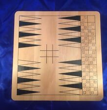 "Two Sided Wood Game Board 11""X11 Backgammon/Solitaire Toy Strategy"