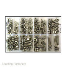 Assorted UNF Stainless Steel Hex Head Set Screw Fully Threaded Bolts & Full Nuts