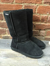 Bearpaw Black Genuine Suede Sheepskin Wool Lined Tall 612w Emma Boots 6
