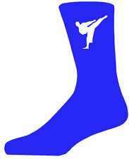 High Quality Blue Socks With a Martial Arts Figure, Lovely Birthday Gift
