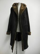Gorgeous Shearling Leather Coat by Blue Duck Black & Brown 3/4 Length L UK 16/18