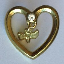 Heart Dove Gem Golden Style Small Pin Brooch Rare Vintage (H3)