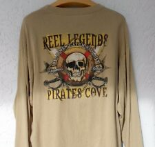Reel Legends Long Sleeve T-shirt XL Pirates Cove Dead Men Catch No Tails Khaki