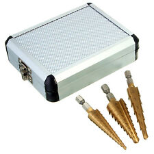 3pc 1/4'' Large HSS Hex Shank Titanium Cone  Coated Step Drill Bit Set with case