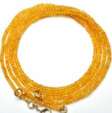 Super Fine Quality Natural Songea Yellow Sapphire 3-4MM Rondelle Beads Necklace