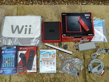 NINTENDO WII MINI CONSOLE BUNDLE JOB LOT Red GAME + LOTS OF ACCESSORIES EXTRAS!