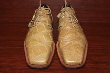 MAURI GENUINE ALIGATER TAN OXFORD MEN'S SHOES SIZE 11 M ITALY