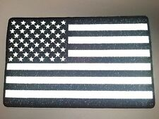 "(B) Large REFLECTIVE AMERICAN FLAG Black & White 10"" x 6.25"" patch (3919) Biker"