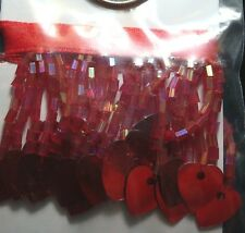 Red AB glass seed bead fringe with heart shaped sequin ends 18 inch gbs048