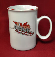 Porsgrund Norway NISSE Elves Gnome Tomtegubbar Christmas Coffee Mug Flat Bottom