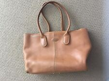 TOD'S Camel Leather D-Bag Tote Top Handle Bag