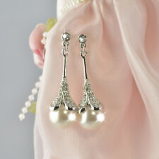 Wedding Bridal Swarovski Pearl & Crystal Stud Earrings-Lead & Nickel Free