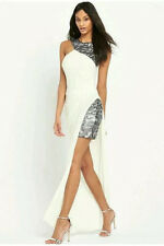 BNWT LIPSY Maxi Silver Sequin Long Dress Size 10 Ariana VIP Party Wedding White