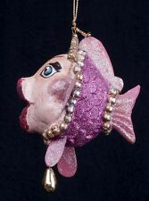 Katherine's Collection Kissing Fish Christmas Ornament Rose Pink Tiara Glitter