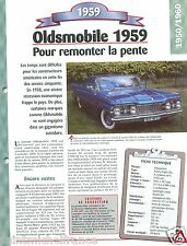 Oldmobile Ninety-Eight General Motors V8 1959 USA Car Auto Retro FICHE FRANCE