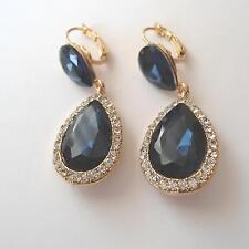 BOUCLES D'OREILLES VINTAGE  FEMME C. OR  AVEC BLEUS SAPHIRS et diamants - 64 D