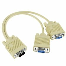 VGA Cable Gold Plated Adapter Splitter Male 1 Female 2 Converter For PC Mon