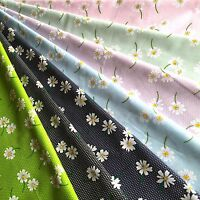 Floral PolyCotton Fabric Beautiful Floating * DAISIES ON DOTS * in 7 Colour ways