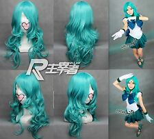 Sailor moon Sailor Neptune Kaioh Michiru Anime Cosplay Perücke Wig L:65cm Neu