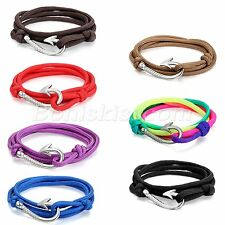 Men Women Mulitilayer Leather Twisted Wrap Fish Hook Bracelet Nautical Rope Cord