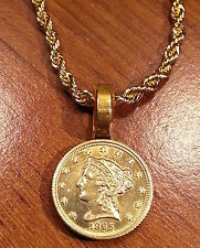 Liberty Head $2.5 Quarter Eagle Coin Gold Filled Pendant & Rope Chain Necklace!