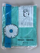 Vintage Shower Curtain Striped Sea Foam Green Factory Sealed NOS Trans World