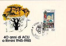 Cartolina 40° anni di ACLI RIMINI Annullo Speciale 1985