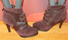 Berry Red real suede buckle victorian buckle Autograph ankle boots 7.5 41 B15