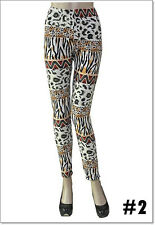 Fashion Colorful Pattern Wave Leggings One Sz Skinny Women Slim Stretch Pants 2