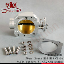For Honda B16 B18 Civic ACURA Integra SI CRX GSR Alloy 70mm Throttle Body Silver