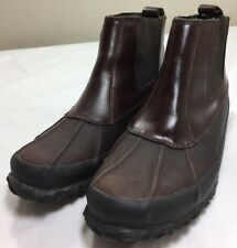 J.Crew Ankle Boots Men's 12 Brown Leather Pull On Duck Elastic Rubber Sole Shoes