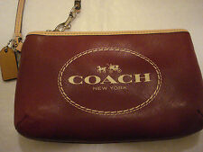NEW COACH CRIMSON RED HORSE AND CARRIAGE MEDIUM WRISTLET / CLUTCH - F51788
