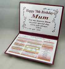 SPECIAL 70TH BIRTHDAY PERSONALISED GIFT - THE DAY & YEAR YOU WERE BORN -KEEPSAKE