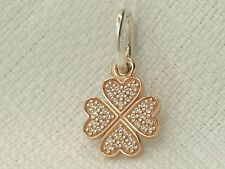 Authentic Pandora 14K Rose Gold & Sterling Lucky In Love Shamrock Pendant 791335