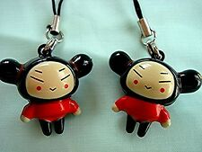 2 CHINESE PUCCA GIRL PHONE HANDBAG KEYRING CHARM W BELL BIRTHDAY PARTY GIFT