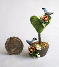 Handmade Miniature  BLUE BIRDS, BLOSSOMS & HEART FAIRY TOPIARY - OOAK C. Rohal