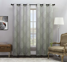 Set of Two (2) Silver Jacquard Window Curtain Panels: Off-White Medallion Design