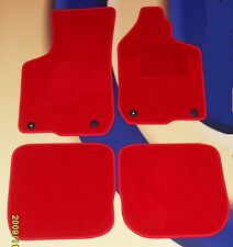 AUDI S4 & S Line 01-08 BRIGHT RED TAILORED CAR MATS with 4 ROUND CLIPS