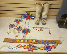 NICE 9 PC. HAND CRAFTED CUT BEADED TIPI DESIGN NATIVE AMERICAN INDIAN DANCE SET!