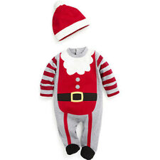2Pcs Boy Girl Infant Baby Christmas Romper Clothes Hat Costume Xmas Outfits Sets