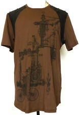 NWT NEW Lip Service Step in Time Bicycle Print Steampunk Brown Shirt XXL