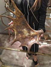 """NEW LARGE 24"""" AGED GOLD FINISH MOOSE ANTLER BOWL RUSTIC LODGE TABLE DECOR"""