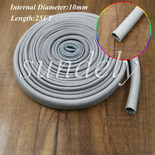 Gray Heat Protector Woven Sleeve Spark Plug Wire High temp 10mm ID X 25FT