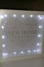 Personalised new home gift in a 3D box frame with  crystals  and lights.