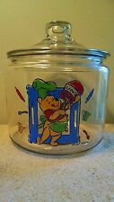 "Vintage Disney Winnie the Pooh Glass Cookie Jar Canister  ""Hunny"""
