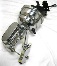 "CHROME Chevy Truck 8"" Power Booster Flat Top Master Cylinder & Bracket Disc Drum"