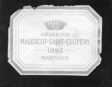 MARGAUX 3EGCC VIEILLE LITHOGRAPHIE CHATEAU MALESCOT ST EXUPERY 1893 RARE §22/05§