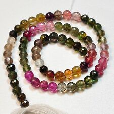 5.5mm Pink Yellow Green Tourmaline Faceted Round Beads 14.5 inch Strand