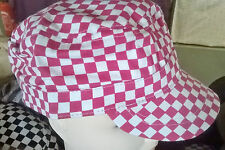 NEW Red square checked cadet/military cap hat 100% cotton mens womens unisex